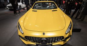 The Mercedes-AMG GT C sports car, manufactured by Daimler, on display at the Auto Shanghai 2019 show in China. Photograph: Qilai Shen/Bloomberg