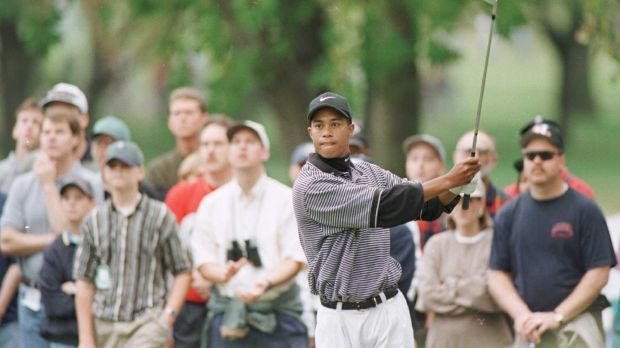 A youthful Woods in Nike gear in October 1996 at the PGA Tour Championship at Southern Hills Country Club in Tulsa, Oklahoma. Photograph: JD Cuban/Allsport