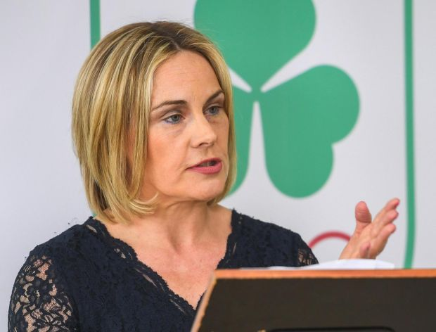 Olympic Federation of Ireland president Sarah Keane speaks at the announcement of an agreement between the organisation and the city of Fukuroi ahead of the 2020 Olymics in Japan. Photograph: Ramsey Cardy/Sportsfile
