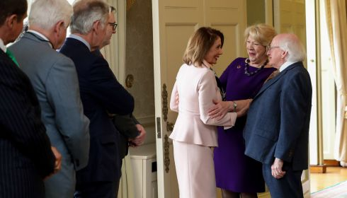 President Michael D Higgins at Aras an Uachtarain receives the US congressional delegation led by Speaker of the House of Representatives Nancy Pelosi. Photograph: Maxwell