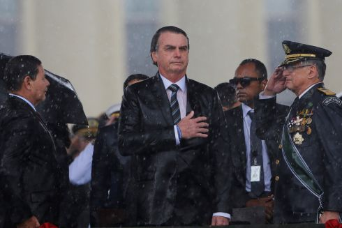 Brazil's president Jair Bolsonaro looks on during an army day ceremony, in Brasilia. Photograph: Adriano Machado/Reuters