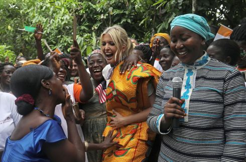 White House adviser Ivanka Trump dances as she meets women entrepreneurs at the demonstration cocoa farm in Adzope, Ivory Coast. Photograph: Luc Gnago/Reuters