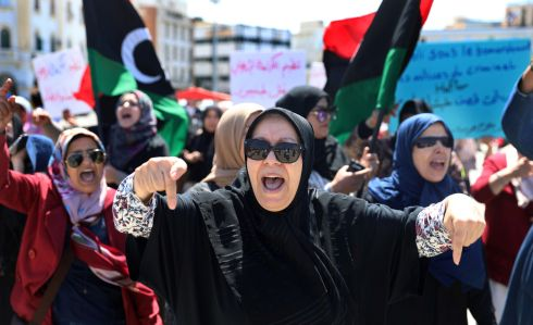 Libyan women shout slogans during a demonstration to demand an end to the Khalifa Haftar's offensive against Tripoli, at Martyrs' Square in the city. Photograph: Hani Amara/Reuters