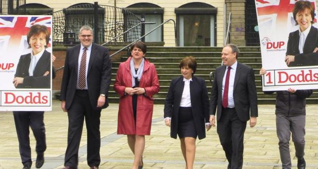 From left to right: DUP MP Gavin Robinson, party leader Arlene Foster, MEP candidate Diane Dodds and Westminster leader Nigel Dodds launch Mrs Dodds's campaign for the European election. Photograph: Michael McHugh/PA Wire