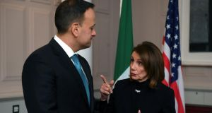 Speaker of the US House of Representatives Nancy Pelosi talks with Taoiseach Leo Varadkar at Government Buildings in Dublin. Photograph: Clodagh Kilcoyne - Pool/Getty Images