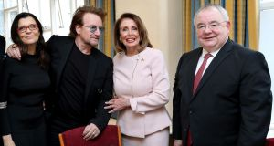 Bono and his wife Ali with US House Speaker Nancy Pelosi and Seán Ó Feargháil at Leinster House: inspired giddy atmosphere. Photograph: Maxwells/Handout