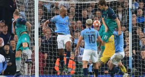 Fernando Llorente scores Tottenham Hotspur's third goal during the Champions League quarter-final second leg against Manchester City at the Etihad Stadium. Photograph: Lindsey Parnaby/AFP/Getty Images
