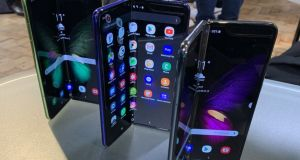 A view of the of the new Samsung Galaxy Fold smartphone.Photograph: Martyn Landi/PA Wire