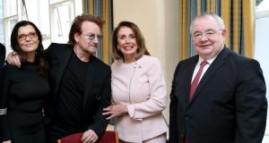 Bono and his wife Ali with  US speaker of the House of Representatives Nancy Pelosi and Ceann Comhairle Seán Ó Fearghaíl. Photograph: Maxwell Photography/PA Wire