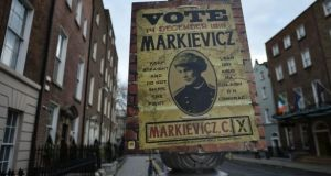 A Constance Markievicz 1918 election poster, erected last year to mark a special exhibition. File Photograph: Getty Images