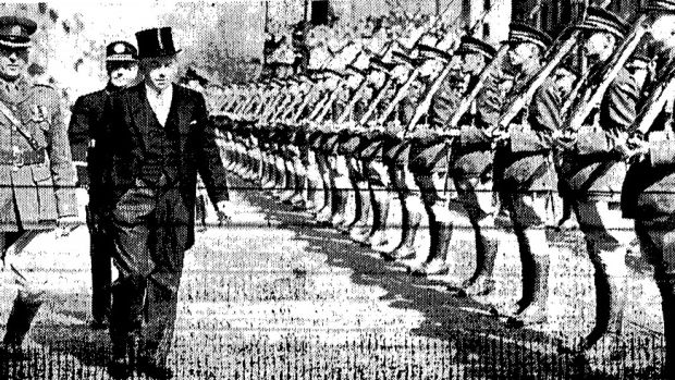 Times PictorIal, April 23rd: Taoiseach John A Costello inspects the guard of honour