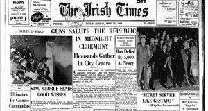 The front page of The Irish Times on April 18th, 1949