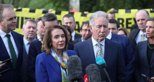 House of Representatives speaker Nancy Pelosi and congressman Richard Neal address the media at the Irish Border. Photograph: PA