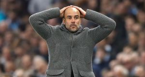Manchester City manager Pep Guardiola after the crucial goal was disallowed. Photograph: Martin Rickett/PA Wire