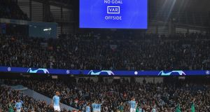 The Etihad  Stadium  descends into a stunned hush after Raheem Sterling's 'winner' is disallowed. Photograph: Anthony Devlin/AFP/Getty Images