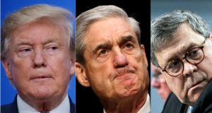 US president Donald Trump, special counsel Robert Mueller and US attorney general William Barr. Photographs: Shawn Thew/EPA, Kevin Lamarque/Reuters, Ein Schaff/New York Times