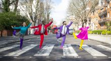Mark Morris Dance Group members at the famous Abbey Road zebra crossing in  London, ahead of their performance of  Pepperland in Dublin. Photograph: Elliott From Franks