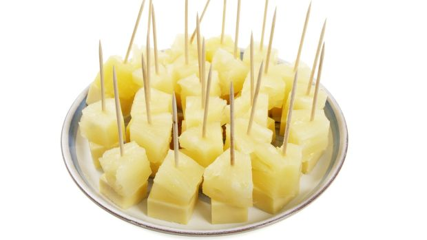 A plate of cheese and pineapple on sticks, a 1970s staple. Photograph: iStock