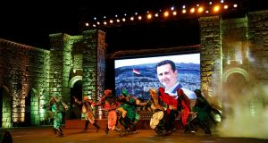 Performers at the opening of the Al-Sham International Arabian Horse Festival in Damascus this week. Photograph: Youssef Badawi/EPA
