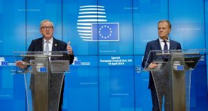 European Commission president Jean-Claude Juncker and European Council president Donald Tusk give a press conference in Brussels after the Brexit deadline was extended until October 31st. File photograph: Olivier Hoslet/EPA