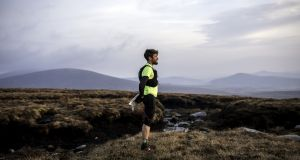 Paddy O'Leary   during his record run on The Wicklow Round.  Photograph: Ian MacLellan