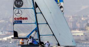 Annalise Murphy and Katie Tingle competing at this week's Genoa Hempel World Cup Series in the 49erFX class. Photograph: Pedro Martinez/Sailing Energy