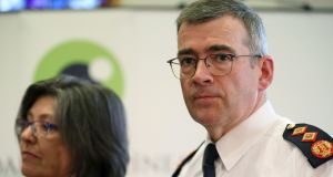 Garda Commissioner Drew Harris and Policing Authority chair Josephine Feehily at a press conference following a meeting at Dublin Castle on Thursday. Photograph: Brian Lawless/PA Wire.
