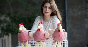 ISPCA ambassador Holly White is pictured as the  organisation sought to draw attention to its campaign which aims to end the caging of hens.  Photograph: Laura Hutton/The Irish Times.