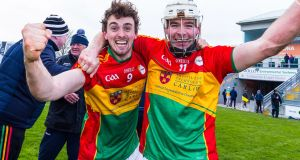 Carlow's Seán Whelan and Martin Kavanagh celebrate their  win against Offaly in the Allianz Hurling League Division 1B relegation play-off at  Bord na Móna O'Connor Park, Co Offaly, on March 10th.  Photograph: Tom O'Hanlon/Inpho