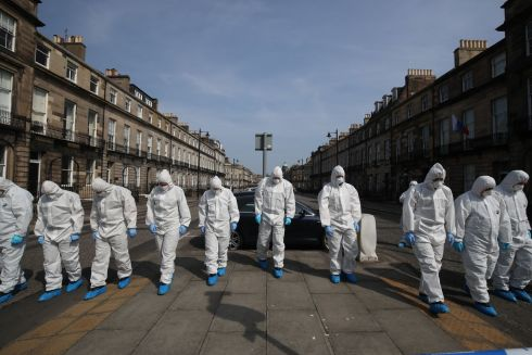 FATAL SHOOTING: Forensics specialists on Melville Street in Edinburgh, Scotland, after the shooting of 'Trainspotting 2' star Bradley Welsh.  Photograph: Jane Barlow/PA Wire