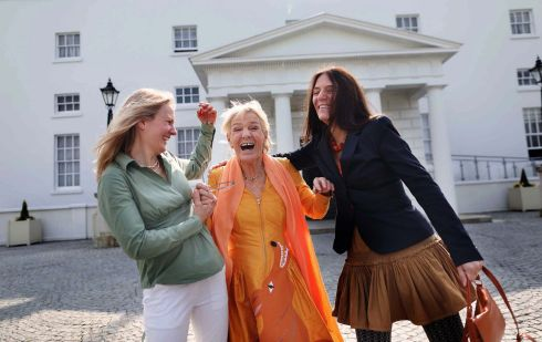 ARTISTIC EXPRESSION: Pauline Bewick (c) with her daughters at Áras an Uachtaráin, where she was presented with the 2019 Kerry Association in Dublin Arts Award. Photograph: Julien Behal Photography