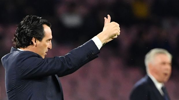 Unai Emery gestures during the game.