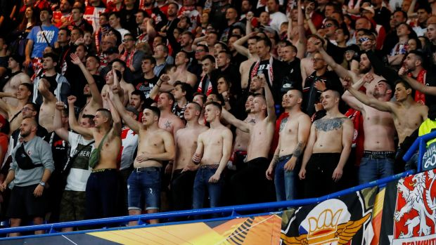 Slavia Prague fans during the game.