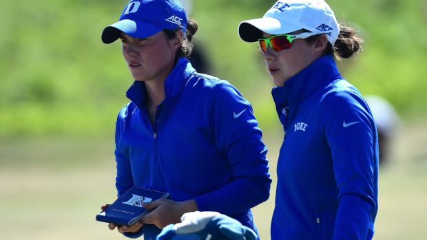 The Maguire sisters in their Duke gear during day three of the 2017 Ladies British Open Amateur Championship. Photo: Richard Martin-Roberts/R&A/R&A via Getty Images