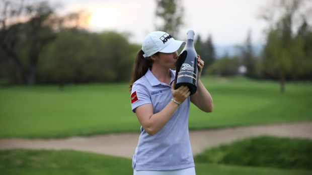 Leona Maguire after claiming her first professional win in the Windsor Golf Classic on the Symetra Tour.