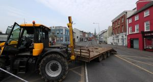 Tractor used in double ATM robbery in Kells, Co Meath. Photograph: Colin Keegan/Collins