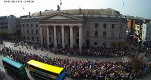 Hundreds of people are taking part in a climate change protest by Exctinction Rebellion Ireland on O'Connell Street this Friday. Photograph: O'Carrolls Irish Gifts web cam.