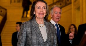 Nancy Pelosi (left), speaker of the United States of House of Representatives with Richard Neal (right) Chair to the House Ways and Means Committee, before a press conference in the Great Hall at Parliament Building in Northern Ireland. Photograph: Liam McBurney/PA Wire