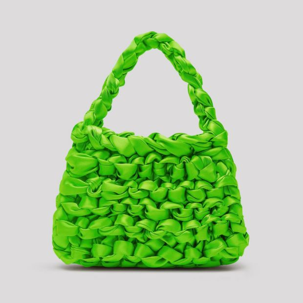 Miista Theodore Neon Green Satin Mini Tote Bag. €210