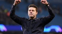 Mauricio Pochettino celebrates after the Uefa  Champions League quarter-final second leg  between Manchester City and Tottenham Hotspur at the Etihad Stadium in Manchester, England. Photograph: Laurence Griffiths/Getty Images