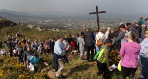 People make their way up Bray Head for the Good Friday Way of the Cross walk, which went from Our Lady Queen of Peace church to the hill overlooking the Wicklow town. Photograph: Aidan Crawley/The Irish Times