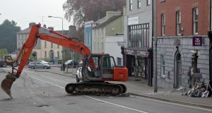 Scene of a double ATM robbery in Kells, Co Meath: While thieves in Ireland use diggers and SUVs, gangs elsewhere use methods such as gas canisters or solid explosives. Photograph: Colin Keegan