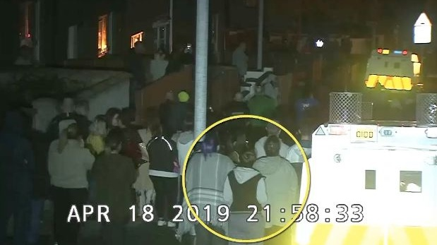 The PSNI released CCTV footage of the Derry riots in which Lyra McKee can be seen circled.