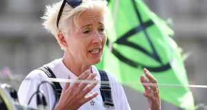 British actor Emma Thompson participates in an Extinction Rebellion climate change demonstration at Oxford Circus in London, Britain. Photograph: Andy Rain/EPA