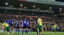 Norwich City's Mario Vrancic  scores his side's late equaliser in the  Championship match against  Sheffield Wednesday at Carrow Road. Photograph: Stephen Pond/Getty Images