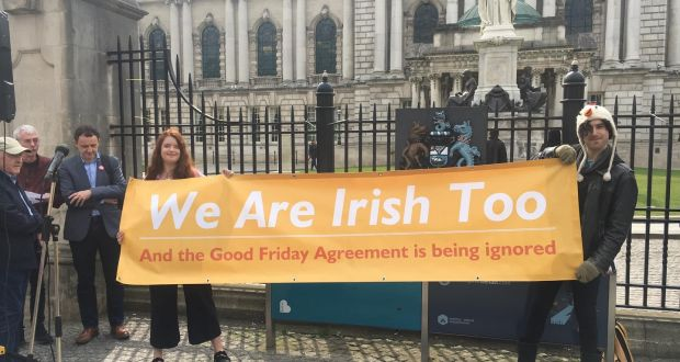 Emma DeSouza (left) with her husband Jake (right) at the rally outside Belfast City Hall. Photograph: Amanda Ferguson