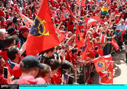 Munster fans enjoy the pre-match atmosphere. Photo: Michael Steele/Getty Images
