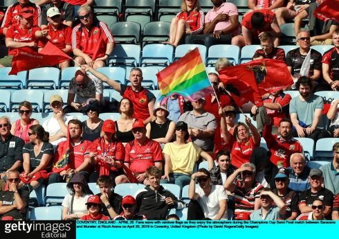 Munster fans wave a rainbow flag. Photo: David Rogers/Getty Images