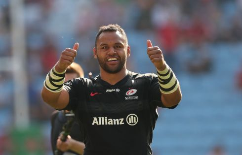 Saracens' Billy Vunipola celebrates his try. Photo: Billy Stickland/Inpho