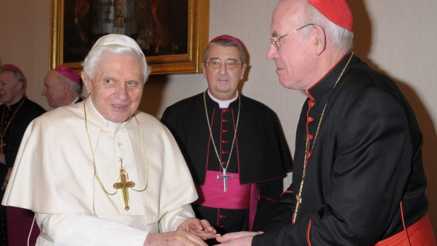Photograph: Losservatoe, RomanoPope Benedict is greeted by Cardinal Sean Brady, Primate of All Ireland with Archbishop Diarmuid Martin at the Vatican yesterday where the Irish bishops gathered in light of Murphy and Ryan reports.
